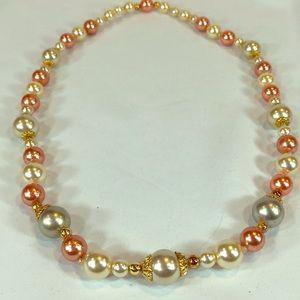 "1980's Vintage pink, ivory, grey faux pearls 25"""